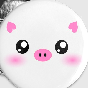 Cute Kawaii Pig face Buttons - Large Buttons