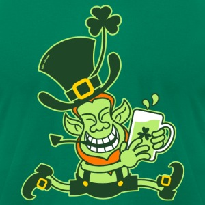 Green Leprechaun Running with Beer T-Shirts - Men's T-Shirt by American Apparel