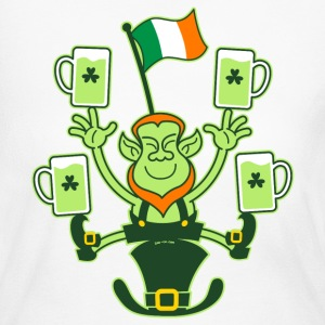 Leprechaun Juggling Beers and Irish Flag Long Slee - Women's Long Sleeve Jersey T-Shirt