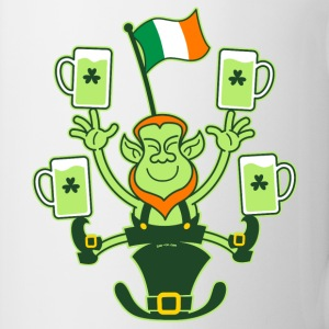 Leprechaun Juggling Beers and Irish Flag Bottles & - Coffee/Tea Mug