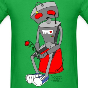 Robot Feels (Sad robot with wilted rose) T-Shirts - Men's T-Shirt