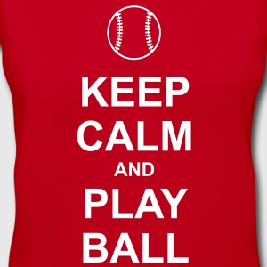Keep Calm and Play Ball Women's T-Shirts - Women's V-Neck T-Shirt