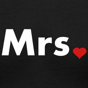 Mrs with heart dot - part of Mr and Mrs set Women's T-Shirts - Women's V-Neck T-Shirt