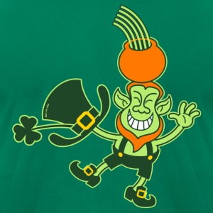Green Leprechaun Balancing a Pot on his Head T-Shi - Men's T-Shirt by American Apparel