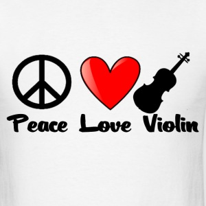 Peace, Love, Violin - Men's T-Shirt