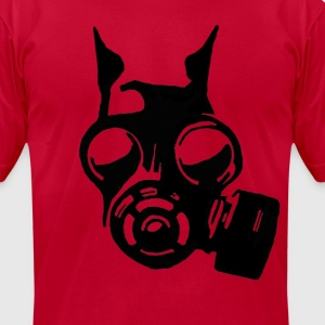 Futuristic War Dog with a Gas Mask - Men's T-Shirt by American Apparel