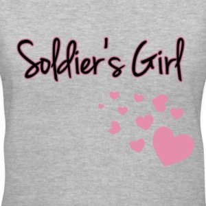 Soldier's Girl with Hearts - Women's V-Neck T-Shirt
