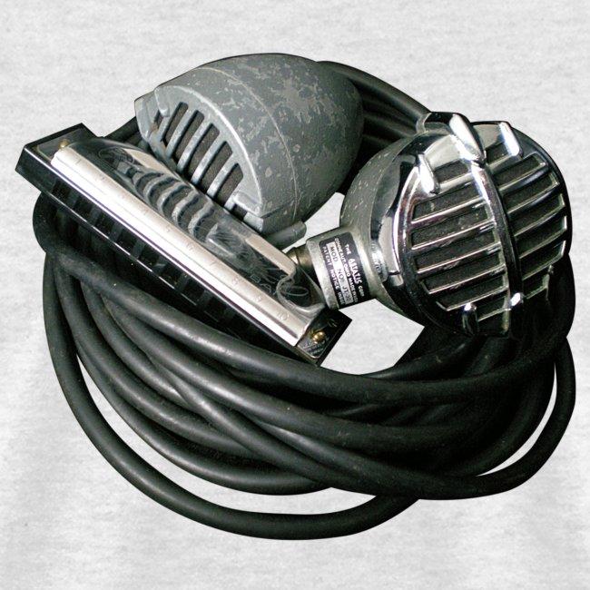 raroart vintage microphones and harmonica on light shirt mens t