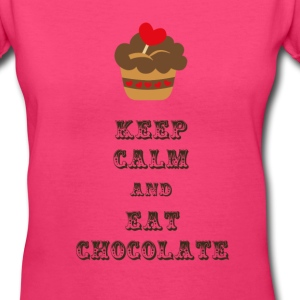 Keep Calm and Eat Chocolate - Women's V-Neck T-Shirt