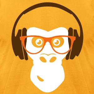 gorilla with headphones T-Shirts - Men's T-Shirt by American Apparel