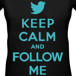 Keep Calm and Follow Me Twitter Women's T-Shirts - Women's V-Neck T-Shirt