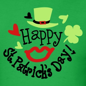 Green hat lucky charm sexy lips st.Patty's day Men - Men's T-Shirt