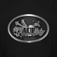 Design ~ AUF Logo - Men's TALL T-Shirt - basic Logo - Silver bordered LOGO + Silver metallic URL