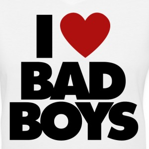I Love BAD BOYS - Women's V-Neck T-Shirt