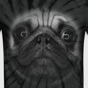 PUG (pug face - big - black and white) T-Shirts - Unisex Tie Dye T-Shirt