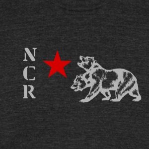 NCR Armor Emblem Shirt (Red and Grey Graphic) - Unisex Tri-Blend T-Shirt by American Apparel