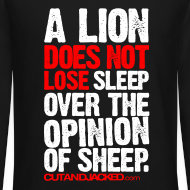 Design ~ A lion does not lose sleep | Mens jumper (wht pr)