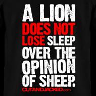 Design ~ A lion does not lose sleep | Mens Tee (wht pr) back print