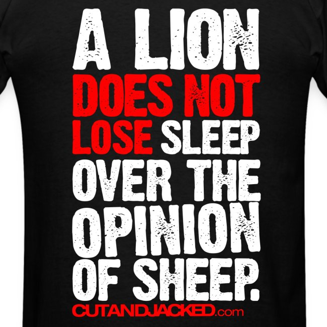 A lion does not lose sleep | Mens Tee (wht pr) back print