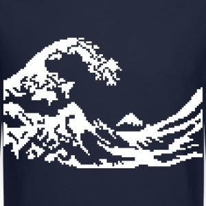 Hokusai wave 8bits Long Sleeve Shirts - Crewneck Sweatshirt