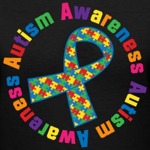 Autism Awareness Puzzle Ribbon Women's T-Shirts - Women's V-Neck T-Shirt