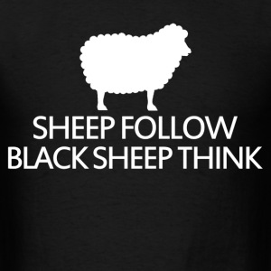 sheep follow black sheep think - Men's T-Shirt