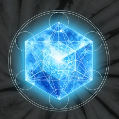 Metatrons Cube with TESSERACT, Hypercube 4D, digital, Symbol - Dimensional Shift,  T-Shirts