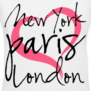 New York, Paris, London with Heart Women's T-Shirts - Women's V-Neck T-Shirt