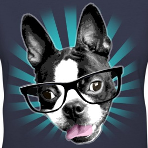 Cute! Hipster Boston Terrier - Women's V-Neck T-Shirt
