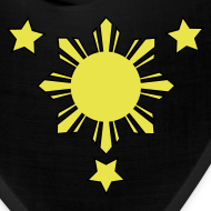 Design ~ Black Bandana with 3 Stars and Sun
