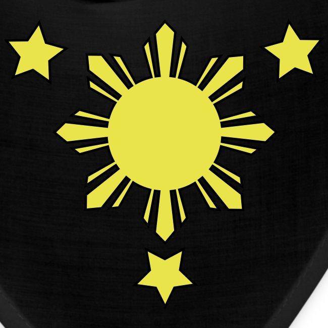 Black Bandana with 3 Stars and Sun