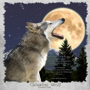 Celestial Wolf ~ Howling Gray Wolf & Moon - Men's Long Sleeve T-Shirt by Next Level