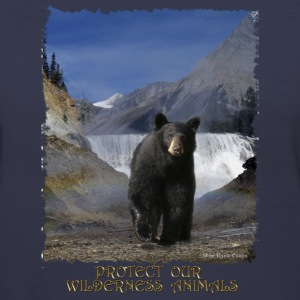 Black Bear & Waterfall - Women's V-Neck T-Shirt