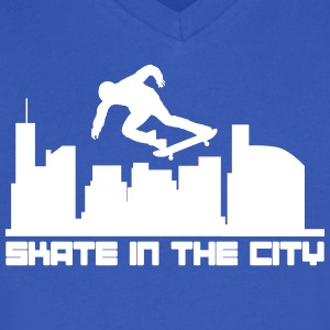 Skate in the city T-Shirts - Men's V-Neck T-Shirt by Canvas