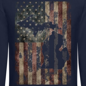 USA Flag Distressed Michigan Down with Detroit Long Sleeve Shirts - Crewneck Sweatshirt