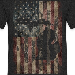 USA Flag Distressed Michigan Down with Detroit T-Shirts - Unisex Tri-Blend T-Shirt by American Apparel