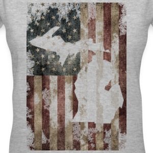 USA Flag Distressed Michigan Down with Detroit Women's T-Shirts - Women's V-Neck T-Shirt