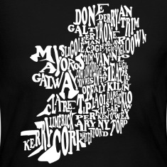 County Word Map Irish Celtic Apparel Long Sleeve Shirts