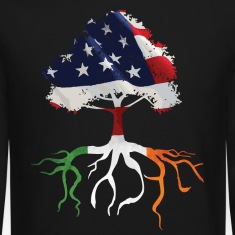 USA Irish Roots Flag Irish Celtic Apparel  Long Sleeve Shirts