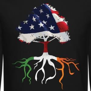 USA Irish Roots Flag Irish Celtic Apparel  Long Sleeve Shirts - Crewneck Sweatshirt