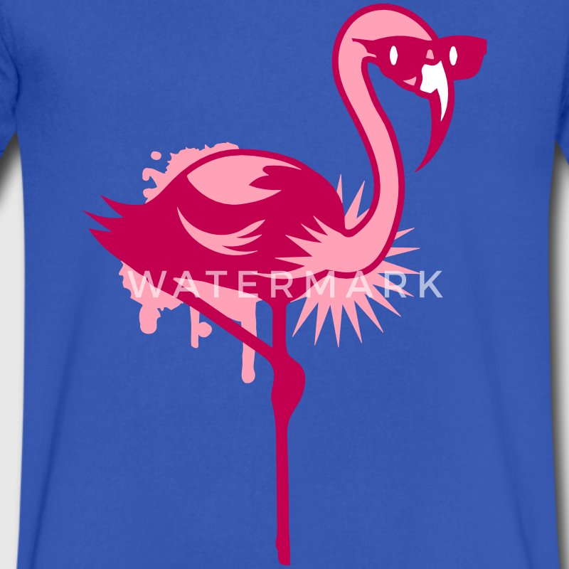 Flamingo with sunglasses T-Shirts - Men's V-Neck T-Shirt by Canvas
