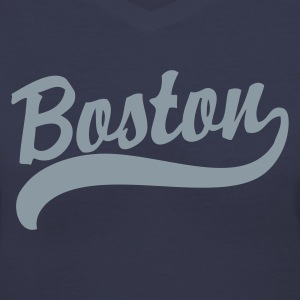 Boston Cursive Back to Beantown Women's T-Shirts - Women's V-Neck T-Shirt