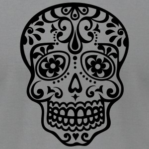 Mexican skull, floral pattern - Days of the Dead T-Shirts - Men's T-Shirt by American Apparel