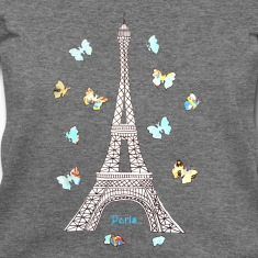 Paris Love Blue Butterflies Long Sleeve Shirts