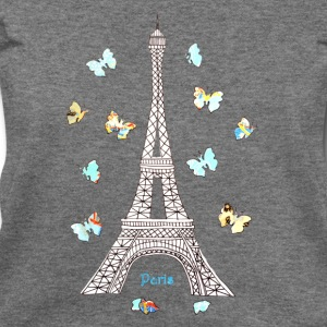 Paris Love Blue Butterflies Long Sleeve Shirts - Women's Wideneck Sweatshirt