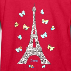 Paris Love Blue Butterflies Kids' Shirts - Kids' Long Sleeve T-Shirt