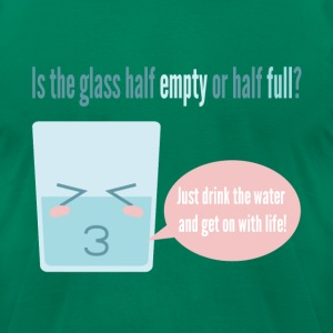funny cartoon about a half full cup T-Shirts - Men's T-Shirt by American Apparel