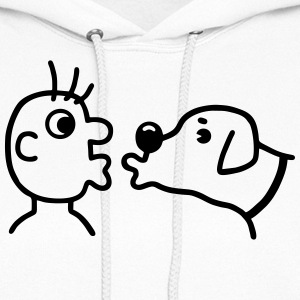 Dog is kissing the human Hoodies - Women's Hoodie