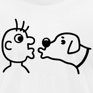 Dog is kissing the human T-Shirts - Men's T-Shirt by American Apparel