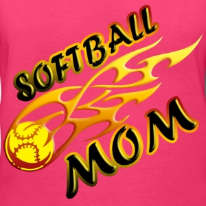 Softball Mom (flame) Women's T-Shirts - Women's V-Neck T-Shirt